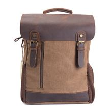 AUGUR Men Vintage Leather Canvas Backpacks Teenagers School Rucksack for Outdoor and Travel Daypack
