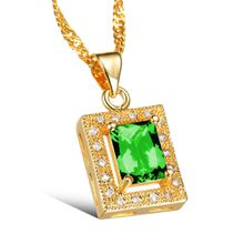 Maikun Simple Square Design White/Green Crystal Stone Women Necklace Fashion Luxury 18K Gold Plated Pendant Jewelry