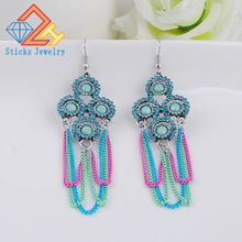 The new European and American popular Ms. earrings 100% eco-friendly materials / antique silver plated tassel earrings 1pair / lot lot