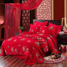 2018 new style 100%cotton red classic Chinese weeding style quiliting four-piece of bed sheet