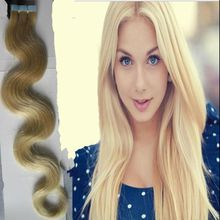 Blonde Tape In Hair Extensions Remy 40pcs 613 Blonde Brazilian Hair Body Wave Skin Weft Tape Hair Extensions 100g