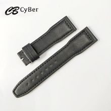Cbcyber brand Genuine leather watchbands for iw watch ,men's watch band strap 22mm black color high quality