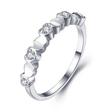 Noble Exquisite Diamond Solid Sterling 925 Silver Ring Line Love Ring 100% 925 sterling silver NBR004