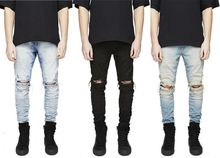 Designer Slim Fit Ripped Jeans Men Hi-Street Mens Distressed Denim Joggers Knee Holes Washed Destroyed Jeans Plus Size free shipping