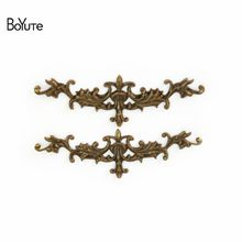 BoYuTe 50Pcs 7 Colors 10*52MM Filigree Flower Charms Europe Style Wholesale Brass Material Vintage Pendant Charms DIY Jewelry