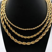 """USENSET Jewelry Hip Hop Rapper Rope Chain Feel Real Solid 18k Gold Plated Curb Fake Chain Necklace (24"""")"""