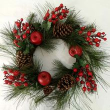 Alldeco Christmas Pine Needles/ Red Berry Wreath
