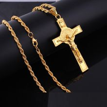 Gold color Double Side Jesus Cross Pendant Necklace for women Hip Hop Necklace men jewelry Chain length 60cm