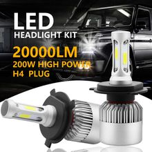 2pcs 200W 20000LM H4 HB2 9003 LED Headlight Kit Hi/Lo Power Bulbs 6500K White Free Shipping