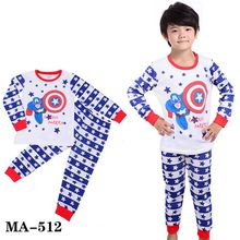 Wholesale Baby Cartoon Pajamas Sets Boys Girls Avengers Clothes Children Cotton Long Sleeve Pyjamas For 2-7Y