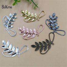 BoYuTe 50Pcs 7 Colors 47*22MM Metal Brass Filigree Stamping Branch Leaf Pendant Charms for Jewelry Making