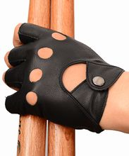 Real Leather Gloves Black Fashion Fingerless Cycling Driving Gloves Free Size