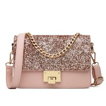Korean Style Fashion Sequins Shoulder Bag Chain Designer Handbags PU Leather Lock Crossbody Bags for female