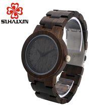 SIHAIXIN luxury Brand Designer Wood Watches men Dial Ebony Wooden Quartz clock man Japan 2035 Miyota Movement Wood Band