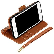 iPhone 8 Wallet Case, iPhone 7 Wallet Case,Magnetic Flip Detachable Card Case with Stand Cover and Credit Card Holder Wristlet 4.7'' - Brown