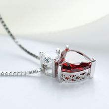 Sterling Silver CZ Crystal Stone Red Heart Pendant