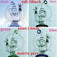 """factorys Big 10"""" Eight Recycler glass bong dabs new Percolator Cyclone Helix water pipe Such an intricate Recycler water pipe oil rig"""