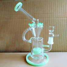 Corona Glass Bong swirl glass bongs Inline recycler heady dab oil rigs with Banger Purple, green color