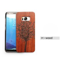 Cell Phone Case For S8 with wood shell edge Magic Sticks Anti gravity Nano Suction Mobile phone wood shell Cover