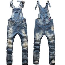 2018 Fashion New Mens Ripped Denim Overalls Jeans Men's Clothing Casual Distrressed Jumpsuit Jeans Pants For Man