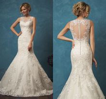 2018 Mermaid Court Train Wedding Dress High Quality Scoop Sheer Appliqued Amelia Sposa Covered Button Bridal Gown