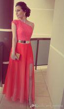 Dresses Coral Color Vestidos Formales Best Seller Lace One Shoulder Side Slit Gold Belt Prom Gowns Formal Evening Dresses 2016