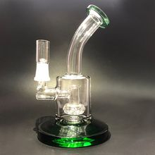 New Green Glass Bongs Recycler Perc Glass Hookahs Round Solid Bottom Glass Water Pipe Oil Rig with 14.4mm Male Joint