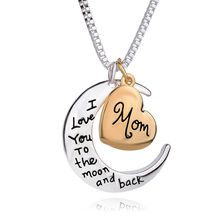 Free shipping 18 High Quality Heart Jewelry I love you to the Moon and Back Mom Pendant Necklace Mother Day Gift Wholesale Fashion JewelryS