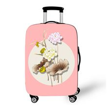 China Factory Supply Customized Good Pink Water Lily Women Protect Spandex Elastic Suitcase Cover