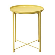 Maojia Iron Round Trays For Coffee Storage Table, Slide Sofa End Table, Shower Accessories (yellow)
