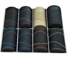 DIY great embroidered threads microfiber leather car handle cover commonly used for all the circular steering-wheel