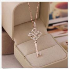 Cute Women Wonderful 9K Rose Gold Filled Key Style Fashion Necklace Pendant For Sale