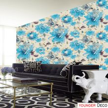 Birght color Good quality non-woven Flower wallpaper for home decoration