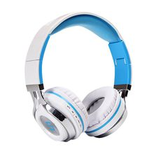 Wireless Bluetooth headset: foldable built-in microphone and rechargeable stereo headband (sky blue)