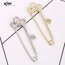 Fashion Crystal Women Brooches Gold Silver Plated Alloy Brooch Pins