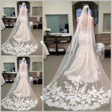 Best Selling Cheapest In Stock Long Chapel Length Bridal Veil Appliques 2015 Veu De Noiva Longo Wedding Veil Lace Purfle with Comb