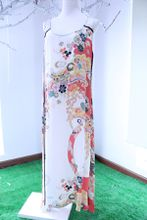 FR04 2017 SUMMER 100% nature Silk printing long dress lady