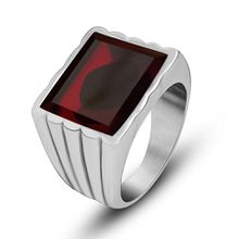 Men's and Women Red/Black Gemstone Stainless steel Rings Fashion Couple 316L Titanium Rings Jewelry Accessories