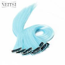 Neitsi 18inch 10pcs/lot Light Blue# ±80g Synthetic Clip in on Hair Straight Clips Hair Piece Synthetic Clip in/on Hair Highlight Extensions