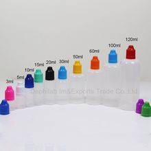 E Cig Liquid Bottles 5ml 10ml 15ml 20ml 30ml 50ml 60ml 120ml Empty Dropper Ldpe Plastic Childproof Caps Long Thin Needle Tips