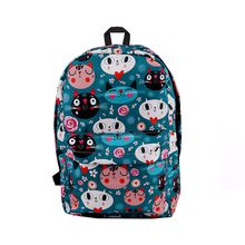 2018 summer new best selling personality cat cartoon printing large capacity cotton casual men and women portable backpack