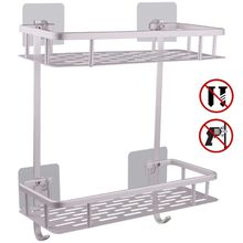 maojia Bathroom Accessories Aluminum 2 Tier Rectangle No Drilling Bathroom Shelves For Towel Shampoo