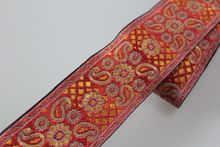 Customiz wholesale Polyester Woven Jacquard Ribbon quadrangle flowers pattern for curtain and clothing accessory LS-0549