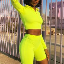 Autumn Long Sleeve Casual Crop Top and Shorts Set Pullovers Zipper Two Piece Set Women Turtleneck Women Tracksuit 2019