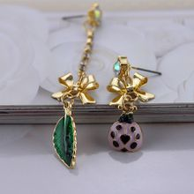 Free shipping fashion jewelry trend alloy gold bowknot is a long a short purple earrings ladybug green leaves