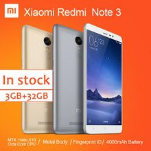 Original Xiaomi Redmi Note Cell Phone MTK Helio X10 Octa Core MIUI7 Fingerprint Metal Body 3GB 32GB 4000mAh