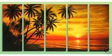Modern art Oil Painting On Canvas abstract wall deco handmade seascape huge size Free shipping painting 5 panels YP11231