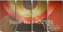 Modern Oil Painting On Canvas abstract painting Guaranteed 100% Free shipping YP671 4 panel circle wall deco