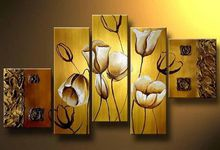 5 panel white tulip flowers art Free shipping MODERN ABSTRACT CANVAS ART OIL PAINTING decoration oil painting P8912