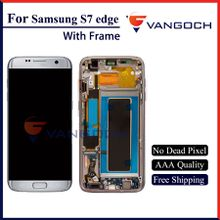 Grade A+++ Original LCD For Galaxy S7 edge lcd Display Touch Screen Digitizer Assembly Replacement Repair with frame free shipping